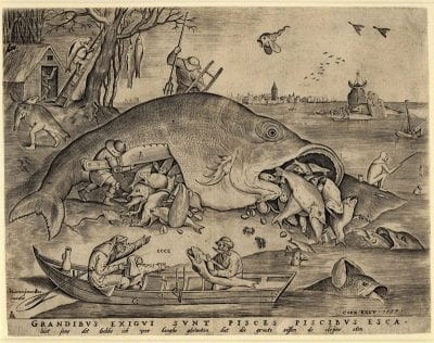 Pieter van der Heyden, after Pieter Bruegel the Elder, Big Fish Eat Little Fish, 1557, The British Museum, London