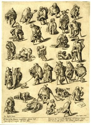 Anonymous engraver, after a follower of Hieronymus Bosch, Cripples and Beggars, ca. 1570, The British Museum, London