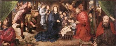 Hugo van der Goes, Adoration of the Shepherds(fig. 1),pre-clean, ca. 1480, Gemäldegalerie, Staatliche Museen zu Berlin