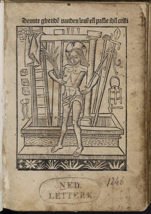 Title page (fol. a1r), Devote ghetiden vanden lev, 1484-1485, University Library, Leiden
