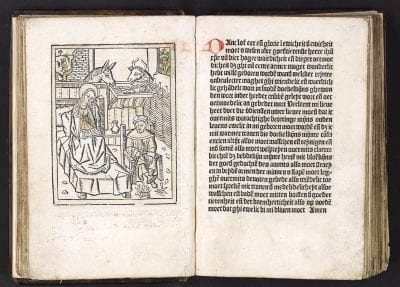 The Nativity from Devote ghetiden vanden leven en, 1486,  University of Amsterdam, Special Collections