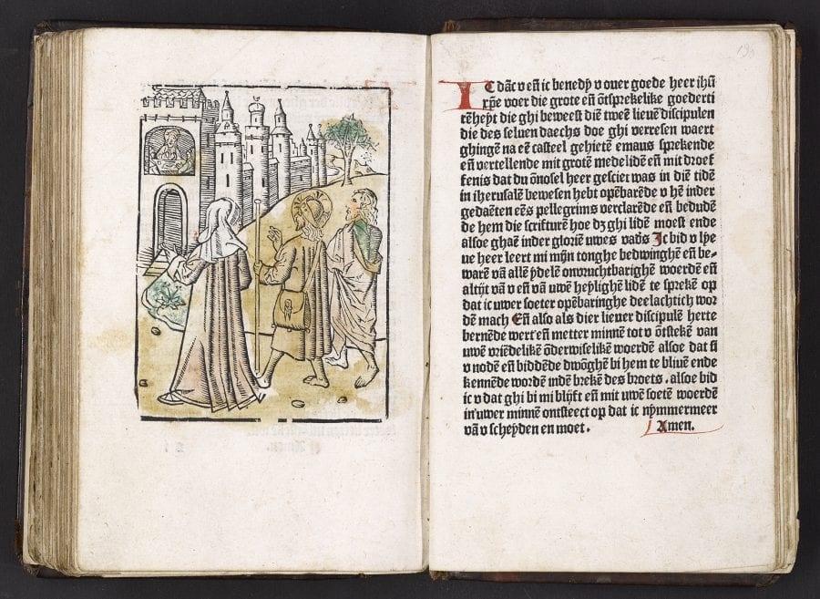 Road to and Supper at Emmaus (fols. s1v–s2r), D, 1486, University of Amsterdam, Special Collections
