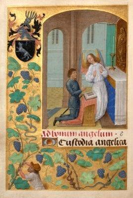 Simon Marmion, Donne Hours:John Donne Kneeling Before His Guard, ca. 1480, Louvain-la-Neuve, Archives de l'Université