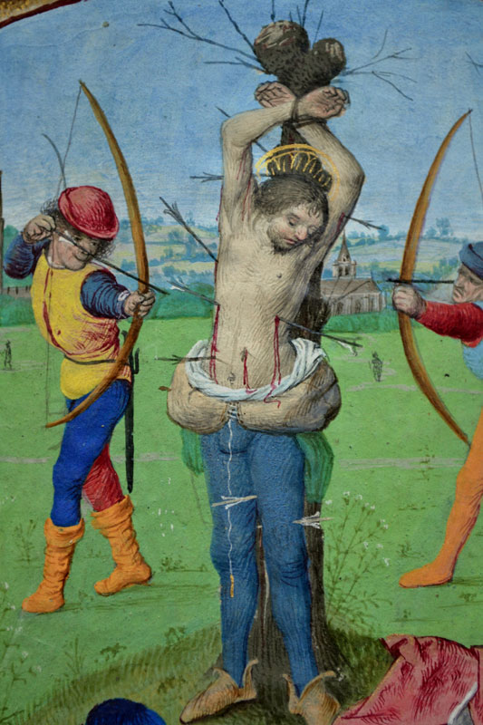 Master of the Dresden Prayerbook, Donne Hours: Martyrdom of Saint Sebastian, detail,  ca. 1480,  Louvain-la-Neuve, Archives de l'Université