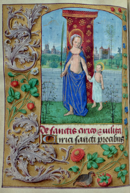 Master of the Dresden Prayerbook, Donne Hours: Saint Quiricus and His Mother Saint ,  ca. 1480,  Louvain-la-Neuve, Archives de l'Université