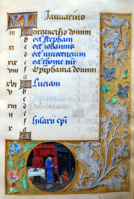Simon Marmion, Master of the Dresden Prayerbook, Donne Hours: January,  ca. 1480,  Louvain-la-Neuve, Archives de l'Université