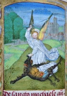 Master of the Dresden Prayerbook, Donne Hours:Saint Michael, detail, ca. 1480, Louvain-la-Neuve, Archives de l'Université