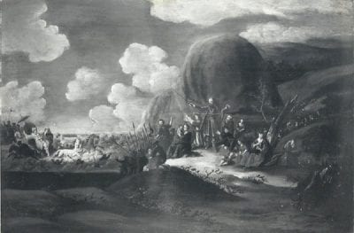 "Barend Jansz. Slordt, Pharaoh and His Army Engulfed in the Red Sea, signed and dated ""Exodus / BJ Slordt 1680, Private collection (Christie's, Amsterdam, May 19, 1984, no. 69)"