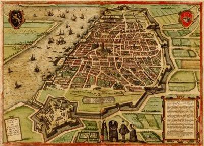 Georg Braun and Franz Hogenberg, Map of Antwerp, fromCivitates Orbis Terrarum, ca. 1575,