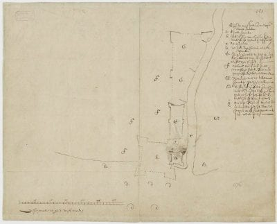 Unknown,  Plan van 't fort en omleggende land Jacatra, 1619,  Nationaal Archief, The Hague, Kaartcollectie Buitenland Leupe