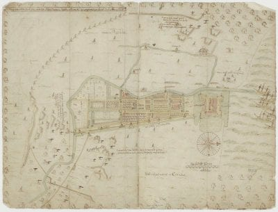 Jacob Cornelisz Cuyck,  Plan of Batavia,  1629 (copy by Hessel Gerritsz 1630),  Nationaal Archief, The Hague, Kaartcollectie Buitenland Leupe