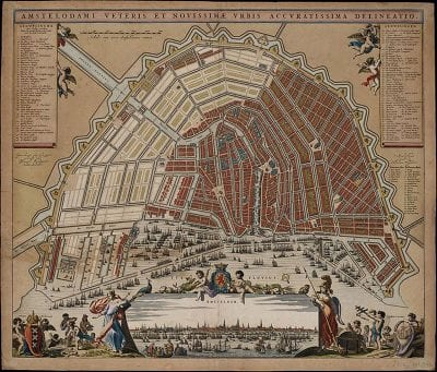 Daniël Stalpaert,  Map of Amsterdam (printed by Nicolaes Visscher), 1662,