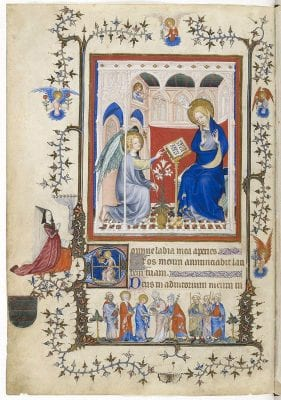 Master of the Parement de Narbonne,  Annunciation, p. 2, from the Très Belles Heure, c. 1390-1410, Bibliothèque Nationale de France, Paris