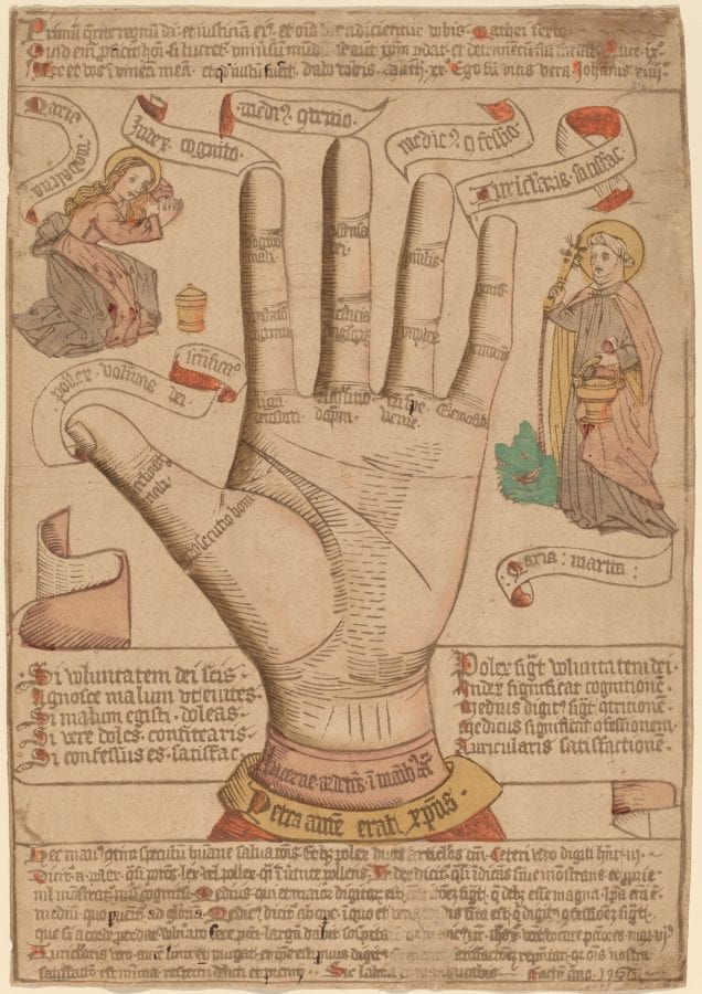 Unknown Netherlandish (?), The Hand as the Mirror of Salvation, 1466, National Gallery of Art, Washington, D.C., Rosenwald Collection