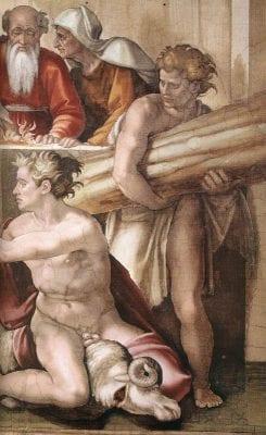 Michelangelo, Sacrifice of Noah (detail), 1509, Sistine Chapel, Vatican City