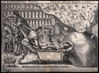 Matthias Greuter, Le médecin guarissant Phantasie purgeant aussi , ca. 1600, Wellcome collection, London