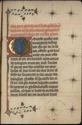 Unknown, Incipit of a prayer to the Sacrament, with a roun, Koninklijke Bibliotheek Albert I, Brussels