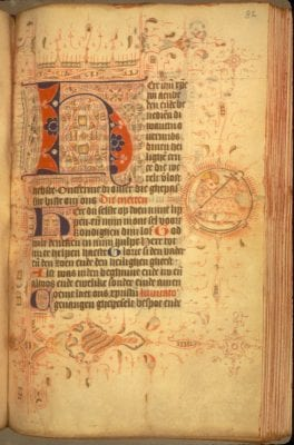 Unknown, Incipit of the Hours of the Cross, with a Lamb of, Leiden Universiteitsbibliotheek