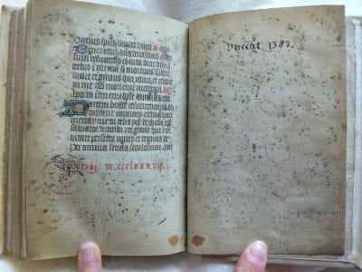 Unknown, Leaves at the end of the manuscript, with offsets, Catharijneconvent, Utrecht