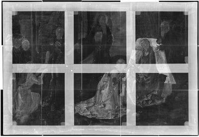 Justus van Ghent, Adoration of the Magi,X-radiograph, ca. 1470, The Metropolitan Museum of Art, New York