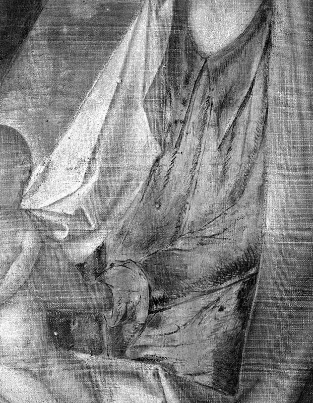 Justus van Ghent, Adoration of the Magi, infrared reflectogram, ca. 1470, The Metropolitan Museum of Art, New York