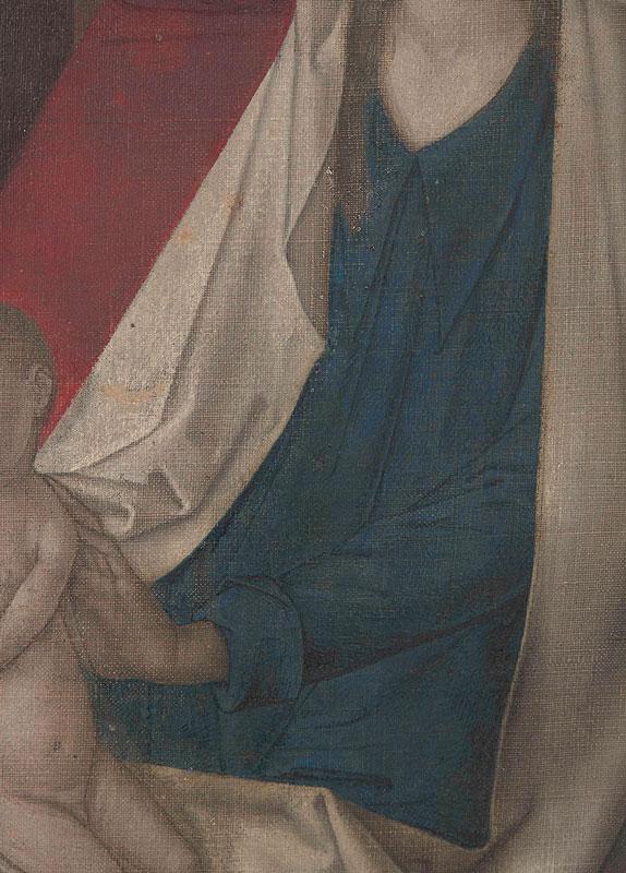 Justus van Ghent, Detail of underdrawing in Virgin's mantle, Adoration of the Magi, comp, ca. 1470, The Metropolitan Museum of Art, New York