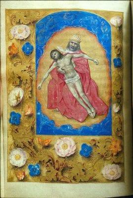 Berlin Master of Mary of Burgundy, Hours of Mary of Burgundy and Maximilian I, fol. 13v: Trinity, 1477/82, Kupfertstichkabinett, Berlin