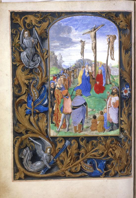 Justus van Ghent(?),  Hours of Mary of Burgundy, fol. 99v,The Crucifi,  ca. 1465/70,  Österreichische Nationalbibliothek