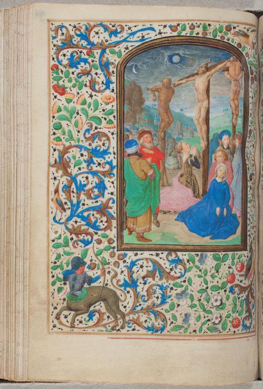 Justus van Ghent,  Trivulzio Hours, fol. 94v,The Crucifixion,  ca. 1470,  Koninklijke Bibliotheek, The Hague