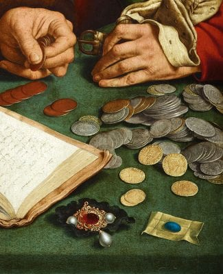 Quinten Massys, Detail of fig. 1. Hands and jewels, late 1520s,