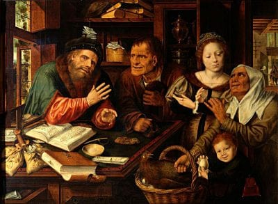 Jan Massys,  Peasants at the Tax Collector, 1539, Gemäldegalerie Alte Meister, Dresden