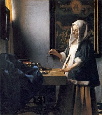 Jan Vermeer,  Woman Balancing Scales, ca. 1664, Widener Collection, National Gallery of Art Washington, D.C.