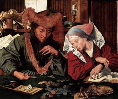 Marinus van Reymerswaele, Banker and His Wife, 1538, Museo del Prado, Madrid