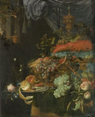 Still Life with Fruit and a Goldfinch,  Abraham Mignon, 1660-79, Rijksmuseum, Amsterdam