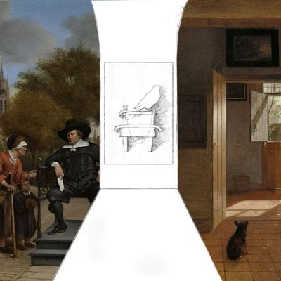 Mock-up that clarifies the larger spatial/architectural context for the implied site of Fabritius's goldfinch and perch. Left side: detail in reverse from Jan Havicksz. Steen, Adolf and Catharina Croeser, known as The Burgher of Delft and His Daughter. Right side: detail from Pieter de Hooch, A Mother Delousing Her Child's Hair, known as A Mother's Duty, Jan Havicksz. Steen, Pieter de Hooch, Carel Fabrit,  1655, Rijksmuseum, Amsterdam