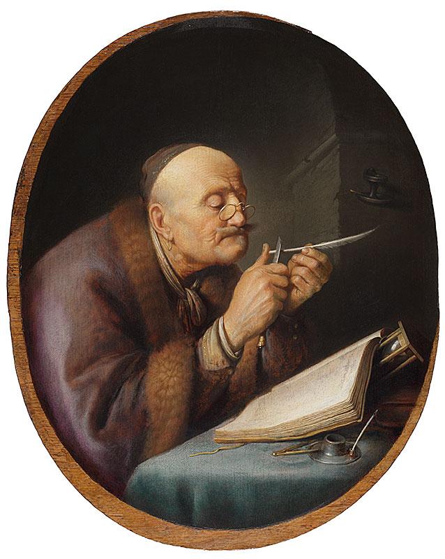 Gerrit Dou, Scholar Sharpening a Quill,  ca. 1630–35,  The Leiden Collection, New York