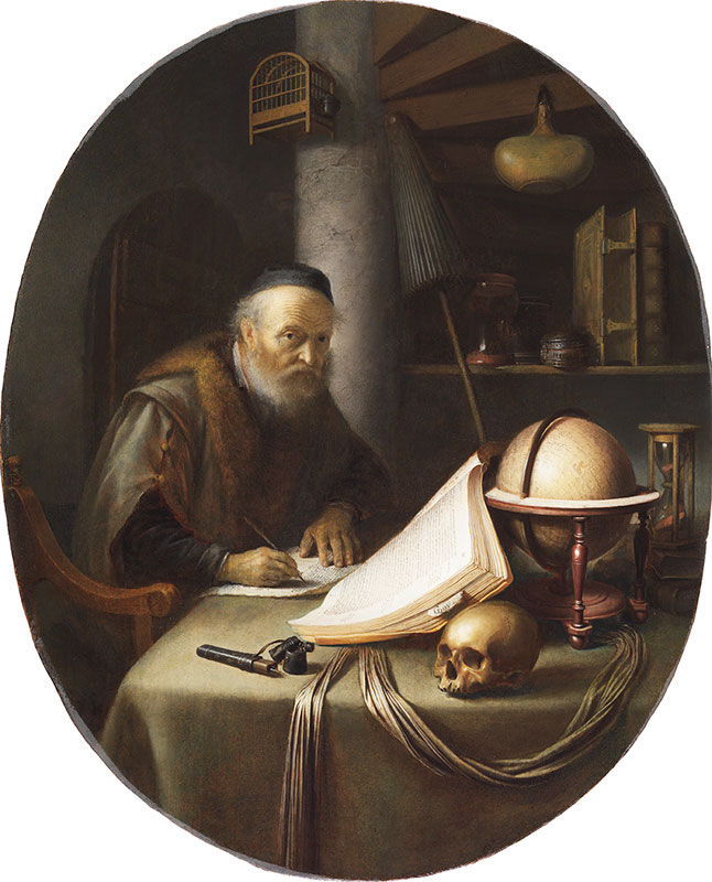 Gerrit Dou,  Scholar Interrupted at His Writing,  ca. 1635,  The Leiden Collection, New York