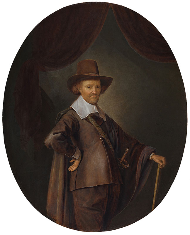 Gerrit Dou,  Portrait of a Gentleman with a Walking Stick,  ca. 1645,  The Leiden Collection, New York