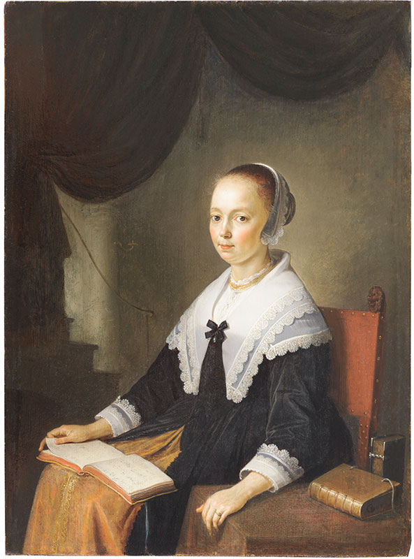 Gerrit Dou,  Portrait of a Lady with a Music Book,  ca. 1640–44,  The Leiden Collection, New York
