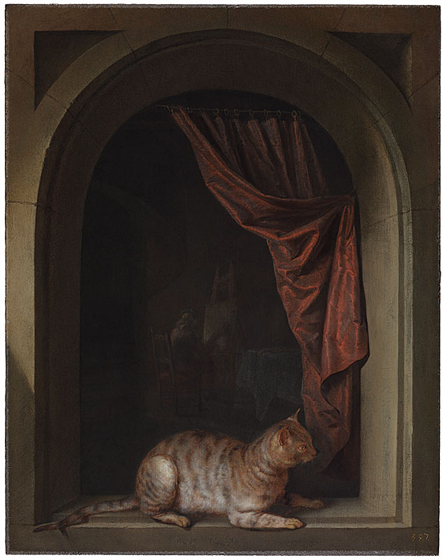 Gerrit Dou, Cat Crouching on the Ledge of an Artist's Atel, 1657,  The Leiden Collection, New York