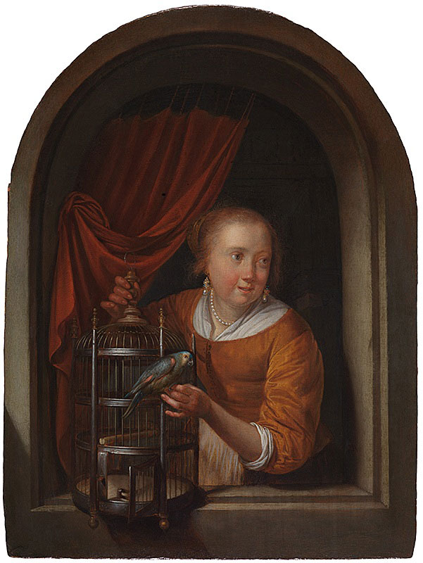 Gerrit Dou,  Young Woman Holding a Parrot,  ca. 1660–65,  The Leiden Collection, New York