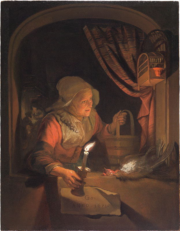 Gerrit Dou,  Old Woman at a Niche by Candlelight, 1671,  The Leiden Collection, New York