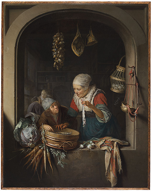 Gerrit Dou, Herring Seller and a Boy,  ca. 1664,  The Leiden Collection, New York