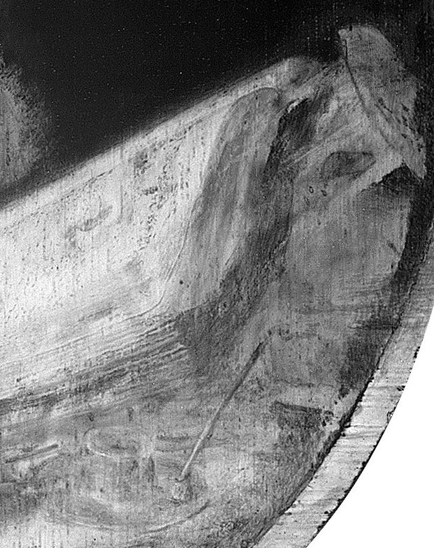 Infrared image detail of Scholar Sharpening a Qu,