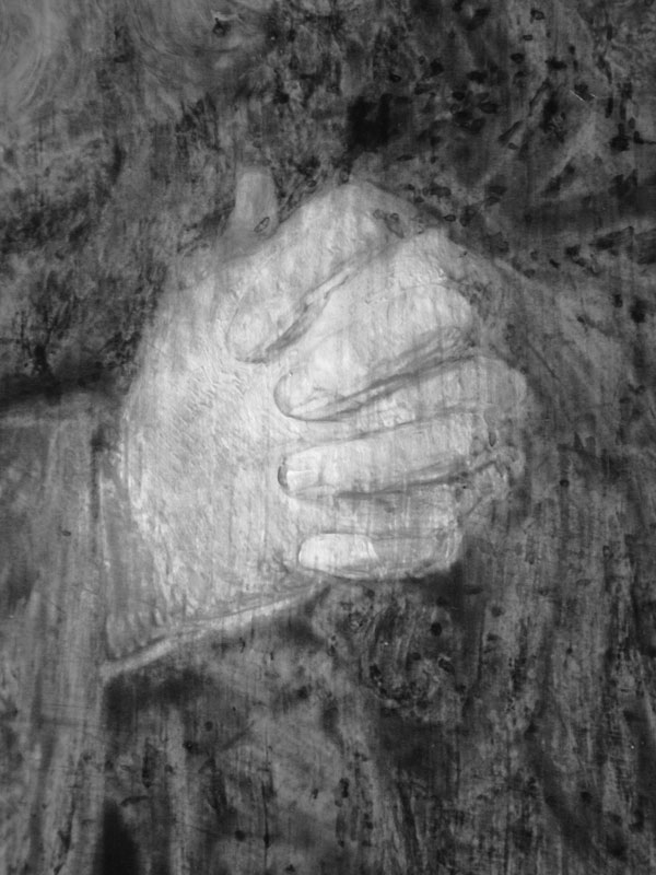 Infrared image detail of Hermit Praying showing,