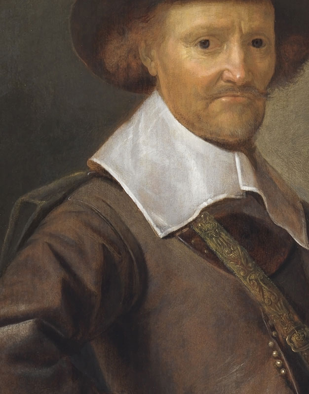 Detail ofPortrait of a Gentleman with a Walking Stick