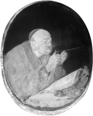 Infrared image of Scholar Sharpening a Quill sh,