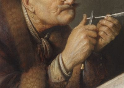 Detail of Scholar Sharpening a Quill
