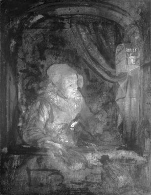 Infrared image of Old Woman at a Niche by Candle,