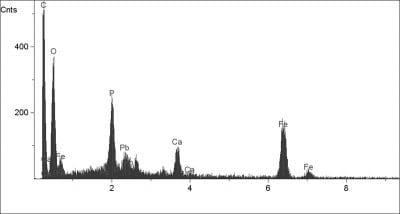 X-ray spectra from the upper most yellow layer of the scarf in Scholar Interrupted at His Writing (cross hair in Fig. 37) showing iron phosphate in individual degraded vivianite particles